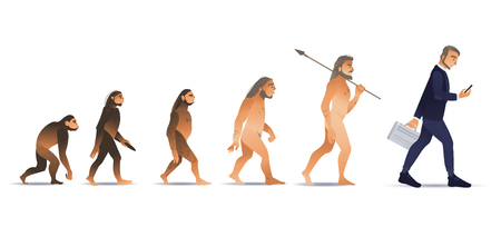 Vector evolution concept with ape to man growth process with monkey, caveman to businessman in suit holding suitcase using smartphone. Mankind development, darwin theory Vettoriali