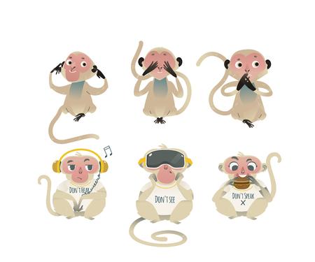 Il vettore non vede il male, non sente il male, non parla metafora del male con scimmie che coprono occhi, bocca, orecchie con le mani, mangiano hamburger, indossano cuffie e cuffie VR. Animali scimmia dei cartoni animati per il design morale