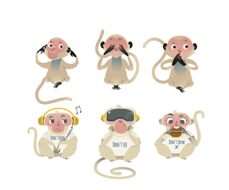 Vector see no evil, hear no evil, speak no evil metaphor with monkeys covering eyes, mouth, ears by hands, eating burger, wearing headphones and VR headset. Cartoon ape animals for moral design