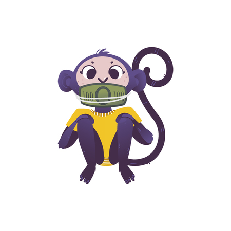 Vector illustration of monkey dont speak because his mouth covered and tied by green banknotes of one hundred in flat style isolated on white background for bribe concept.