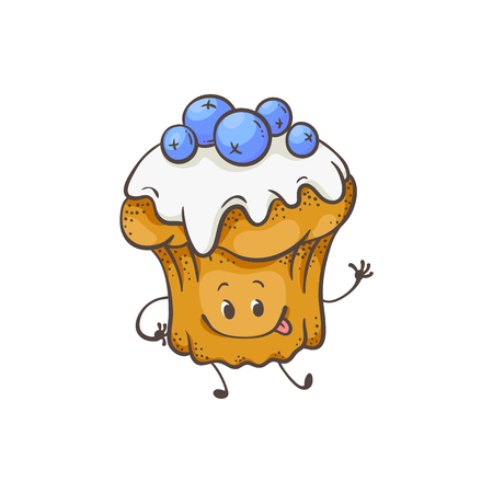 Vector illustration of muffin cartoon character with glaze and blueberries in sketch style - cute sweet baked dessert emoticon with smiling face waving hand isolated on white background.