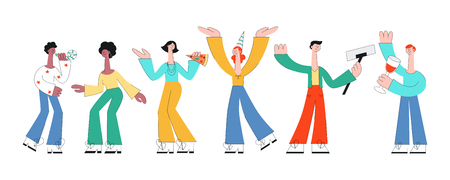 Vector illustration set friend party with men and women with holiday equipment dancing and having fun. Isolated flat male and female characters with no faces drinking cocktails and eating pizza.