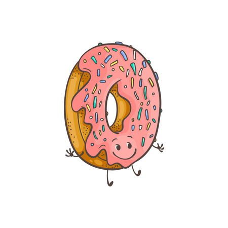 Vector illustration of doughnut ring cartoon character with pink glaze and colorful decorations in sketch style - emoticon of fried dough dessert food with icing isolated on white background.