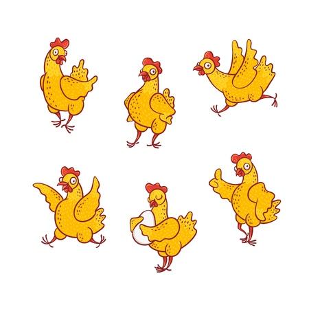 Conjunto de ilustración de vector de gallina de divertidos dibujos animados en diferentes poses aisladas sobre fondo blanco - lindo pollo amarillo sonriente dibujado a mano de pie junto y con huevo, corriendo y divirtiéndose.