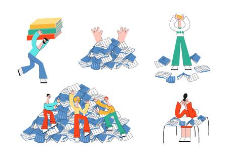 Vector stylized male, female characters and information overload, stress and fatigue. Men, women students going under, climbing books pile mountain, sitting with head behind books, carry huge textbook