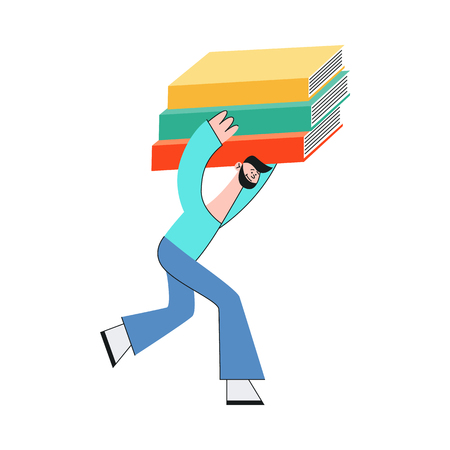 Vector illustration of man carrying stack of big and heavy paper documents or books in flat style - isolated male student or worker running holding pile of information sources under head.