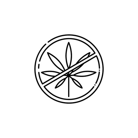 Vector crossed cannabis leaf in circle line icon. Green hemp plant, smoking drug symbol, marijuana herb. Isolated illustration