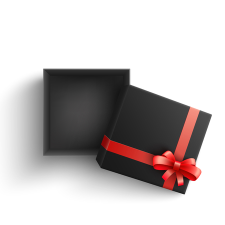 Black present box with red ribbon bow top view. Vector opened surprise package for christmas, birthday celebration design. Boxing day, black friday discounts banners element, isolated illustration  イラスト・ベクター素材