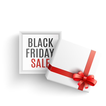 Black friday sale vector illustration with open white gift box with sign on bottom and red ribbon and bow in realistic 3d style. Isolated present package for seasonal special offer promotion design.