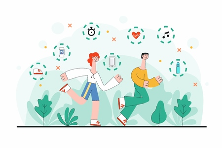 Vector illustration of man and woman in sportswear running outdoors surrounded by green trees and symbols of sport equipment isolated on white background in trendy flat style. Illustration