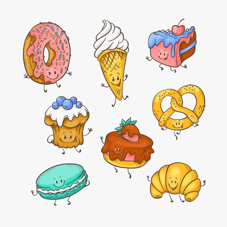 Vector illustration set of cute sweet desserts cartoon characters with funny smiling faces in sketch style - various hand drawn mascots of sweet baked pastries isolated on white background. Illustration