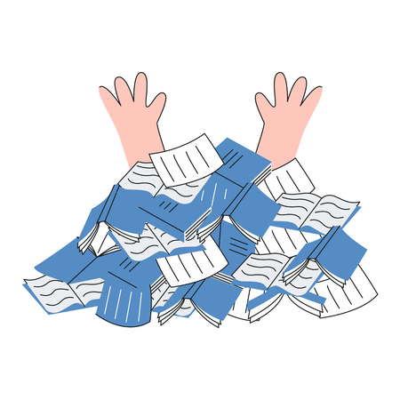 Overworked person under pile of papers documents and notebooks in flat style - vector illustration of human hands stick out of information sources isolated on white background. Illustration