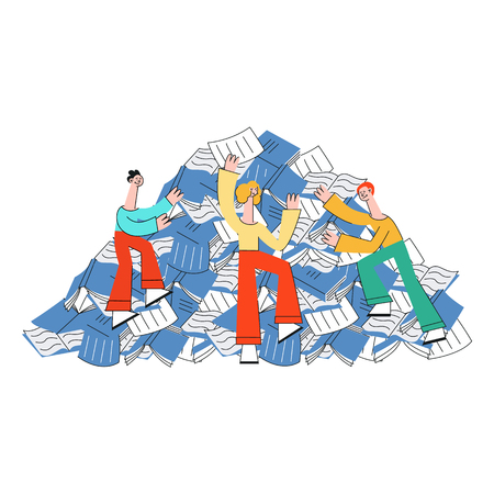 Vector illustration of people trying to climb mountain of paper documents and notebooks in flat style isolated on white background - overloaded pile of information sources.