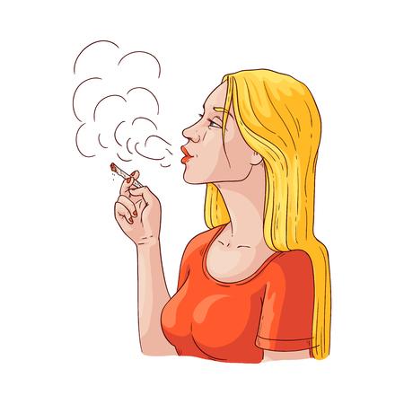 Fumo di giovane donna di vettore. Disegna una bella ragazza bionda che esala fumo sporco tenendo in mano una sigaretta fumante. Personaggio femminile fumatore con dipendenza da nicotina