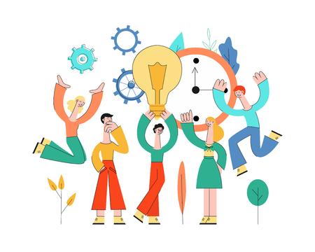 Reunión de gente de negocios de vector, desarrollo de plan de negocios, lluvia de ideas. Personajes creativos masculinos y femeninos sosteniendo la bombilla discutiendo con colegas sobre ruedas dentadas abstractas, fondo floral del reloj Ilustración de vector