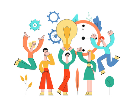 Vector business people meeting, developing business plan, brainstorming. Male, female creative characters holding light bulb discussing with colleagues on abstract cogwheels, florals clock background