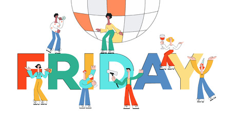 Vector stylized male, female characters at party dancing with disco ball drinking wine from glasses, making selfie on background of friday letters background. Office men, women colleagues or friends Illustration