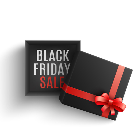 Black friday sale vector illustration with open dark paper gift box with sign on bottom and red ribbon and bow on cover in realistic 3d style isolated on white background. Illustration
