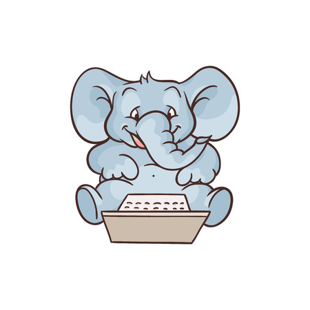 Cheerful sketch elephant animal sitting typing at laptop lying at his knees. Cute pets characters and modern computer technologies and communication. Vector hand drawn illustration Ilustração