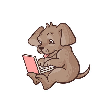 Cheerful sketch dog animal sitting at floor with laptop on kneets typing. Cute pets characters and modern computer technologies and communication. Vector hand drawn illustration
