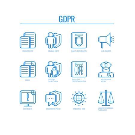 Ilustración de vector de iconos GDPR con varios símbolos que representan los principios generales de regulación de protección de datos en arte de línea fina: seguridad aislada y seguridad del concepto de información privada.