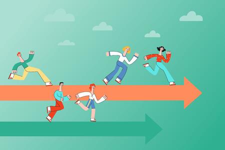 Persone che corrono lungo le frecce che indicano la corretta direzione di avanzamento sul banner orizzontale in stile piatto - illustrazione vettoriale di uomini e donne che si muovono in avanti verso il raggiungimento dell'obiettivo. Vettoriali