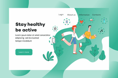 People in sportswear running outdoors among trees on website template with sport equipment in vector illustration. Flat man and woman doing cardio workout for healthy and active lifestyle concept.