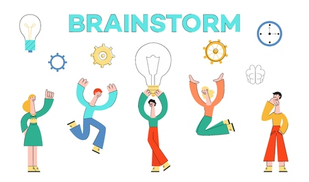 Vector brainstorm concept characters set. Business people developing business plan, marketing campaing. Male female creative characters holding big light bulb discussing with colleagues with cogwheels Иллюстрация