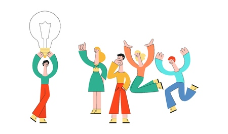 Vector business people meeting, developing business plan, brainstorming. Male, female creative characters holding big light bulb, discussing with colleagues.