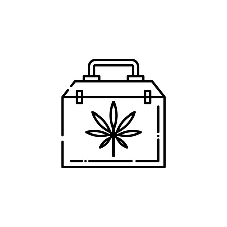Medical case with cannabis leaf line icon - thin outline symbol of bag with marijuana in isolated vector illustration for weed consumption and marihuana legalization concept.