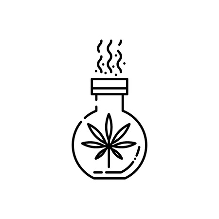 Vector cannabis legalization and marijuana benefits in pharmaceutical industry concept icon. Hemp leaf in flask or test-tube line icon. Weed used for laboratory research for drugs manufacture
