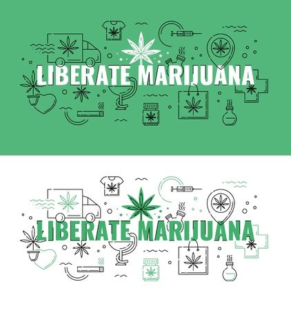Liberate marijuana text design - marijuana consumption and legalization horizontal banners set with line icons of cannabis leaf. Vector illustration of legal growth and use of sativa concept.
