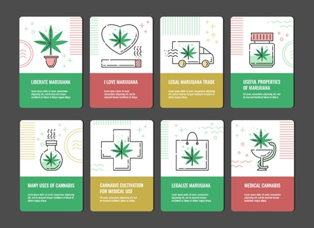 Vector illustration set of marijuana consumption and legalization vertical banners with line icons of cannabis leaf -concept of medical use and legal growth and trade of sativa. Stock Vector - 128169742