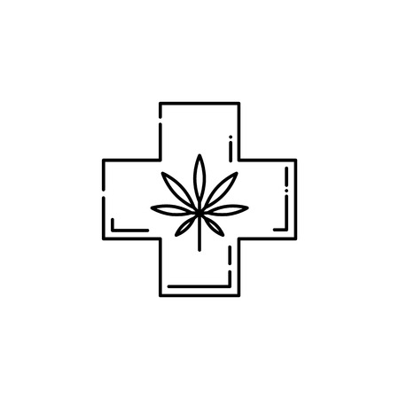 Vector cannabis legalization and marijuana benefits in medicine concept icon. Hemp leaf in cross line icon. Weed used as antidepressant and medication, isolated illustration