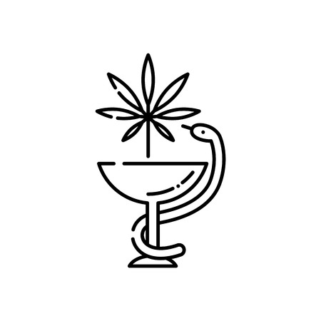 Medical marijuana line icon - thin outline symbol of snake twined around bowl with cannabis leaf isolated on white background. Vector illustration of legalization and pharmacy use of hemp. Illustration