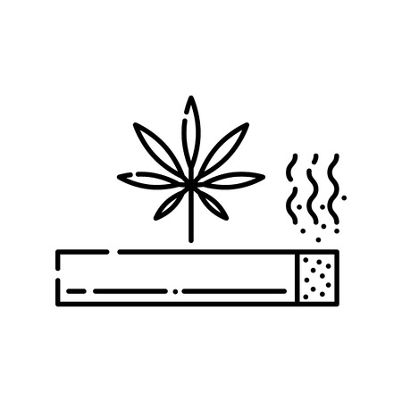 Marijuana rolled cigarette with smoke line icon isolated on white background - vector illustration of outline symbol of illegal smoking drugs abuse and cannabis joint or spliff concept. Illustration
