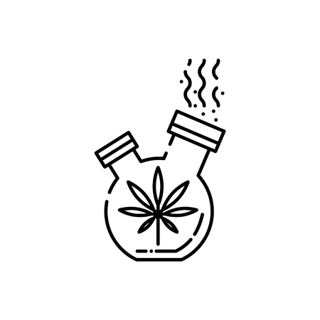 Bong for smoking cannabis line icon - thin outline symbol of stuff for smoke weed with marijuana leaf isolated on white background. Vector illustration of apparatus for drug consumption. Stock Vector - 128169747