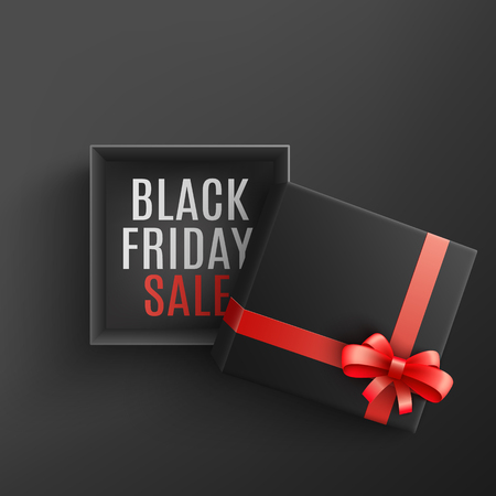 Black friday sale vector illustration with open dark gift box with sign on bottom and red ribbon and bow in realistic 3d style - isolated present package for holiday special offer promotion design.