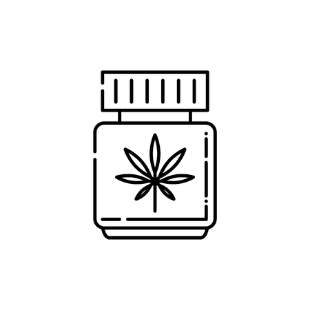 CBD oil in bottle with cannabis leaf line icon - thin outline symbol of medical and pharmacy use of marijuana isolated on white background, vector illustration of marihuana legalization. Illustration