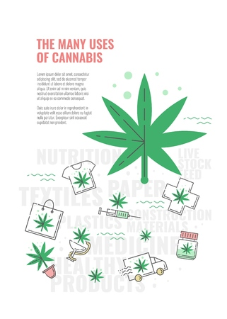 Many uses of cannabis banner with line icon of marijuana leaf on bottle with oil and cross, t-shirt and bag, delivery truck and in pot in isolated vector illustration for hemp medical use concept.