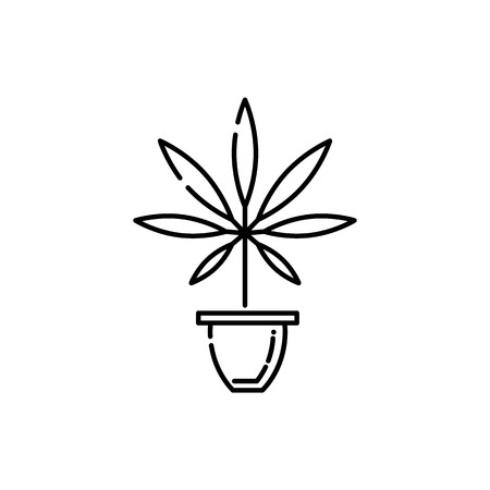 Marijuana in pot line icon - thin outline cannabis sativa grow in flowerpot isolated on white background. Vector illustration of hemp leaf in bowl drug consumption or marihuana legalization concept.