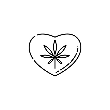 Heart symbol with marijuana leaf inside line icon - thin outline pictogram of cannabis consumption affecting heart and causing cardiovascular disorders in isolated vector illustration. Stock Vector - 128169765
