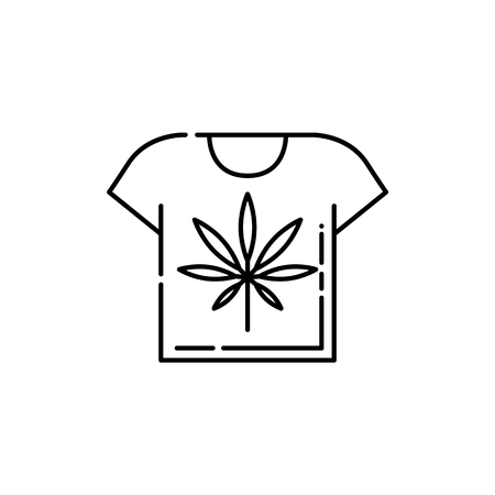 T-shirt with cannabis leaf line icon - thin outline symbol of clothing with marijuana in isolated vector illustration for weed consumption and medical marihuana legalization concept. Stock Vector - 128169766