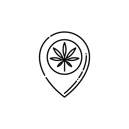 Pinpoint with marijuana leaf inside line icon - thin outline symbol of pointer showing location of cannabis store in isolated vector illustration for weed consumption concept.