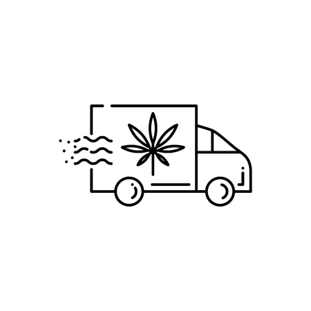 Icône de camion de livraison avec feuille de marijuana isolée sur fond blanc - illustration vectorielle de contour mince de van avec du cannabis pour la consommation de drogue et le concept d'usage médical de la marijuana. Vecteurs
