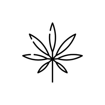 Marijuana or cannabis leaf line icon - thin outline symbol of narcotic herb isolated on white background. Vector illustration of weed drug consumption or marihuana legalization concept.