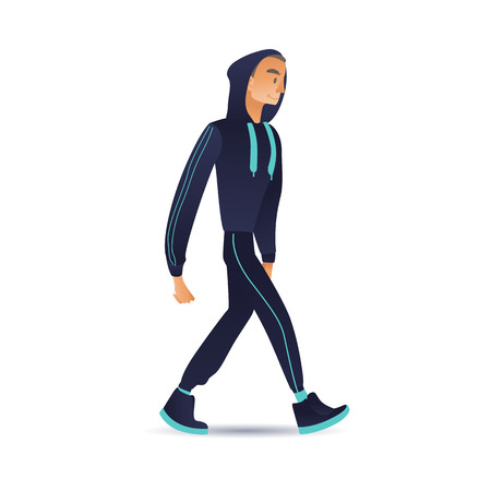 Vector cartoon young man in sport suit with hooded sweatshot walking with smile at face. Male character with active healthy lifestyle walking after training, workout. Isolated illustration Illustration