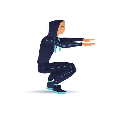 Vector sketch man in sportsuit doing squat exercise. Male sportsman character athlete doing strength workout training on legs muscles. Healthy lifestyle
