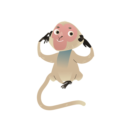 Vector dont hear metaphor monkey pluging her ears ears by hands. Cartoon ape animal for moral design. Funny primate animal, chimpanzee sitting covering ears, isolated illustration