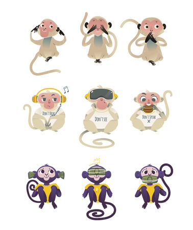 Vector dont see, dont hear, dont speak metaphor monkeys covering eyes, mouth, ears by hands and dollars, eating burger, wearing headphones and VR headset. Cartoon ape animals for moral design